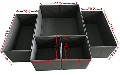 Sodynee Box Dresser Drawer Organizer Cube Containers for Underwear, Ties,