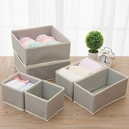 KIMIANDY Foldable Cloth Storage Box Closet Drawer Organizer Fabric Baskets Containers with Drawers for Clothes, Socks, Lingerie, Clothing, Set of