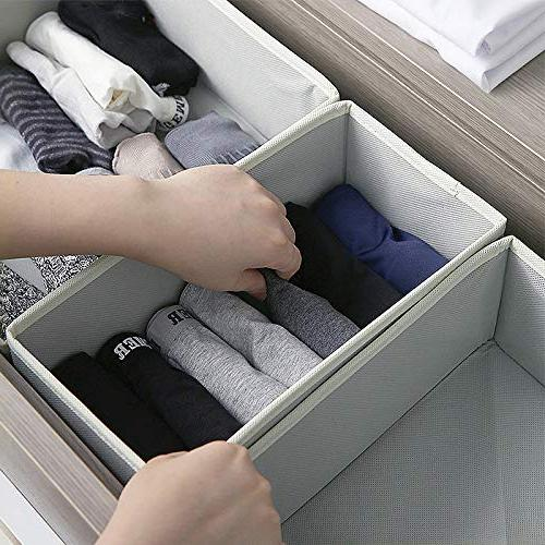 KIMIANDY Foldable Box Closet Dresser Organizer Baskets Containers Divider for Clothes, Underwear, Socks, Set of 6
