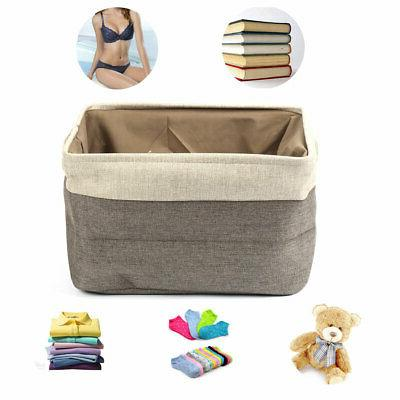 Foldable Cotton Laundry Storage Basket with Rope Handles