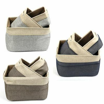 foldable cotton linen toy laundry storage basket