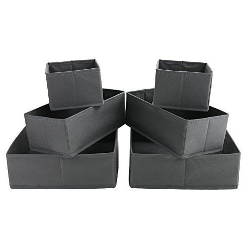 Homyfort Cloth Storage Box Closet Organizer Basket Containers Divider Drawers Ties, Scarves, 6,Grey