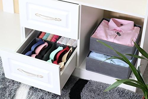 Homyfort Foldable Box Dresser Drawer Organizer Cube Containers Divider Drawers for Underwear, Bras, Socks, Ties, Set 6,Grey