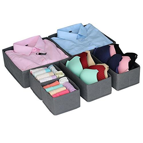 Homyfort Cloth Box Organizer Basket Containers with Drawers for Bras, Socks, Ties, Scarves, Set 6,Grey
