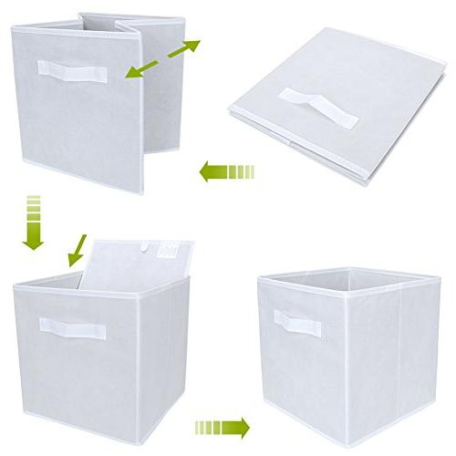 Set of Foldable Fabric Basket Collapsible Cube Nursery