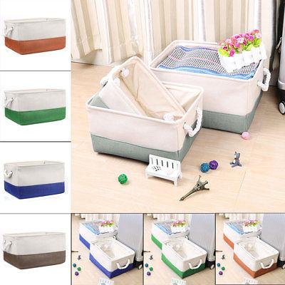 Foldable Fabric Storage Basket or Bin Box with Cotton Handle