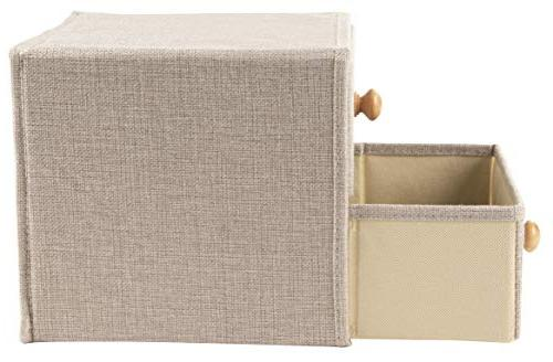 Foldable Storage Bins 2-Drawer Closet with Wooden Knob Multipurpose Home, Bedroom, Living Room, Gray, 9 x 8.7 x Inches