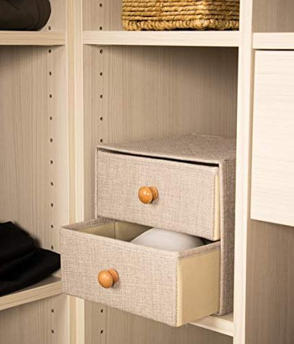Foldable Storage Bins - 2-Drawer Mini Drawer, Closet with Wooden Knob Handle, Multipurpose Bin Home, Bedroom, Living Room, x 8.7 x 8 Inches