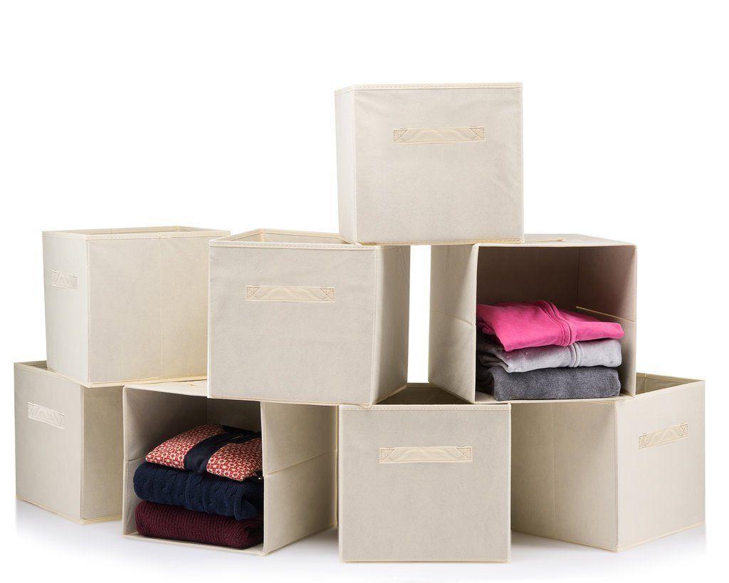 Foldable Storage Boxes - Cube Basket Storage Bins - Beige, C