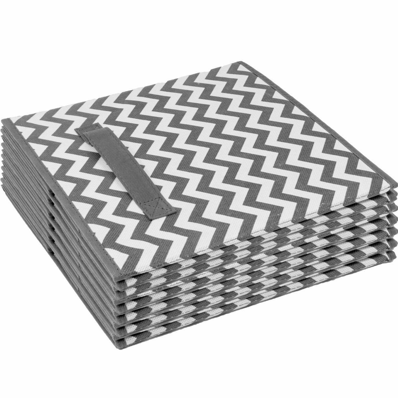Foldable Bin, 6 Pack,Chevron Pattern
