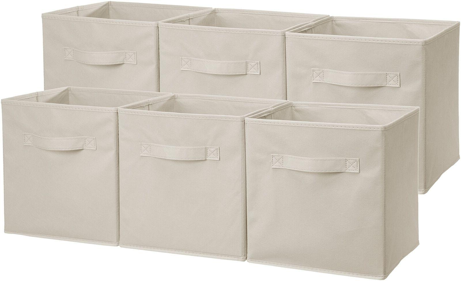AmazonBasics Foldable Storage Cubes - 6-Pack, Beige