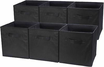 foldable storage cubes 6 pack black
