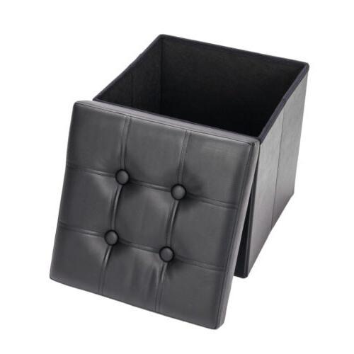 Folding Leather Storage Bench Lounge
