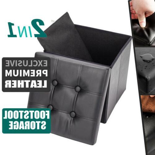 folding leather storage ottoman storage cabinet bench