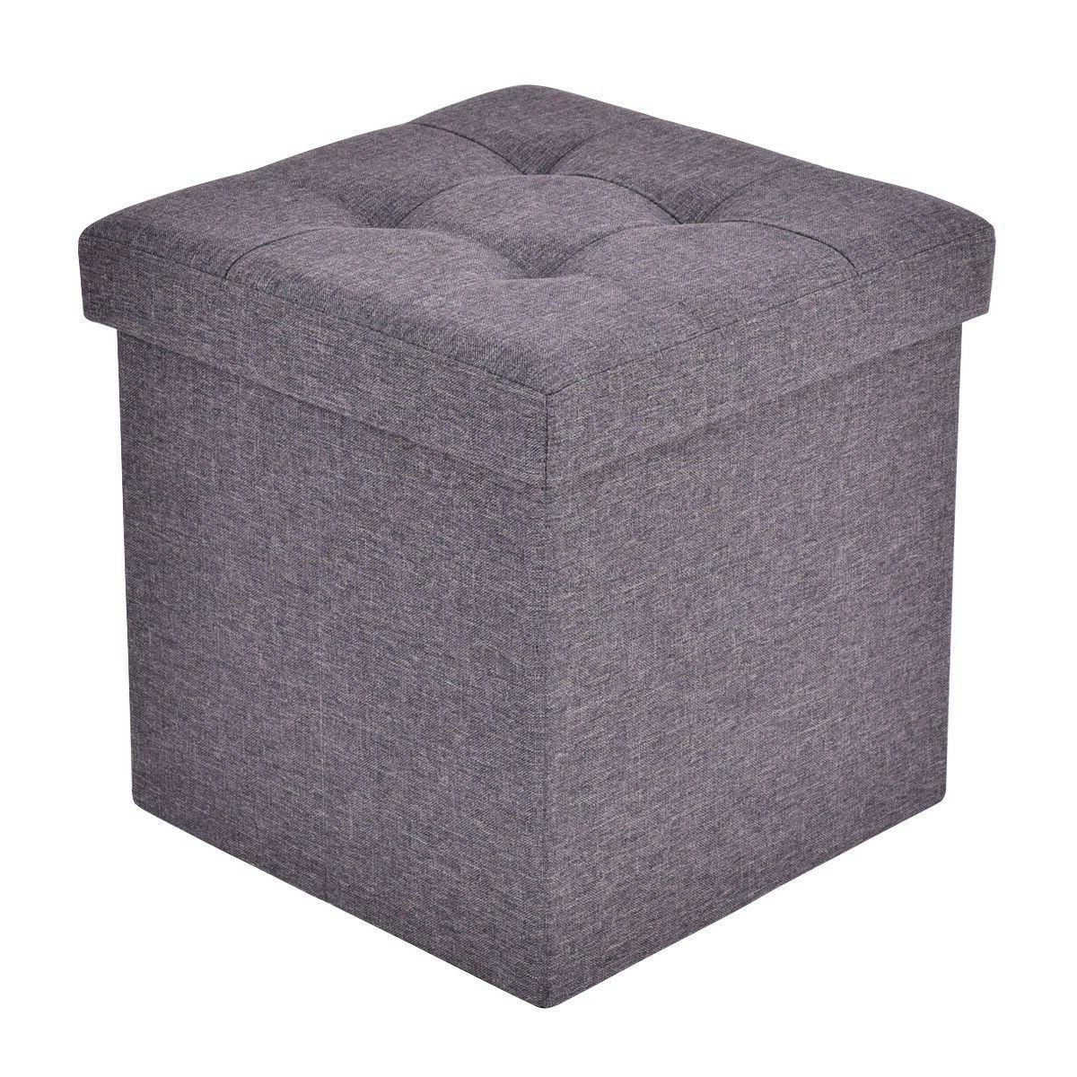 Giantex Folding Storage Cube Ottoman Seat Stool Box Footrest