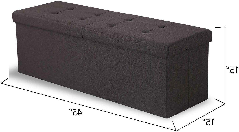 Folding Storage Ottoman 45 inches Storage Bench Box Chest Fo