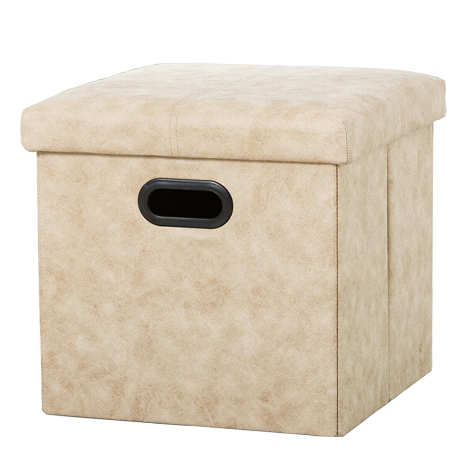 Folding Storage Bench Box Seat Foot Rest Stool Home