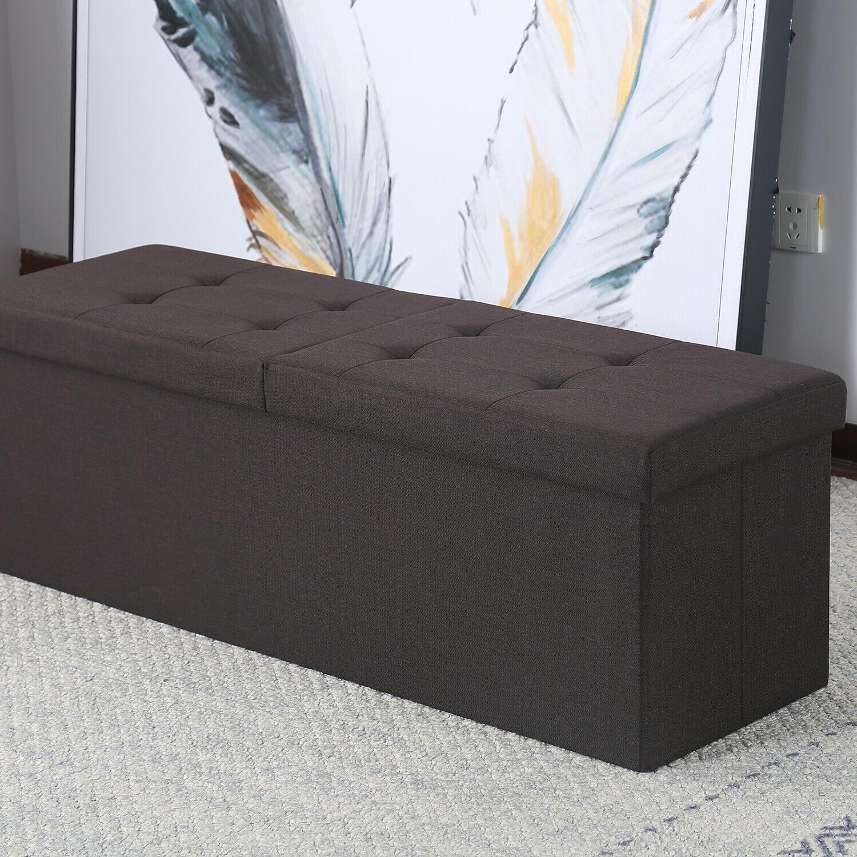 Folding Storage Ottoman Bench Box Lounge Seat Rest Stool Toy 30-47