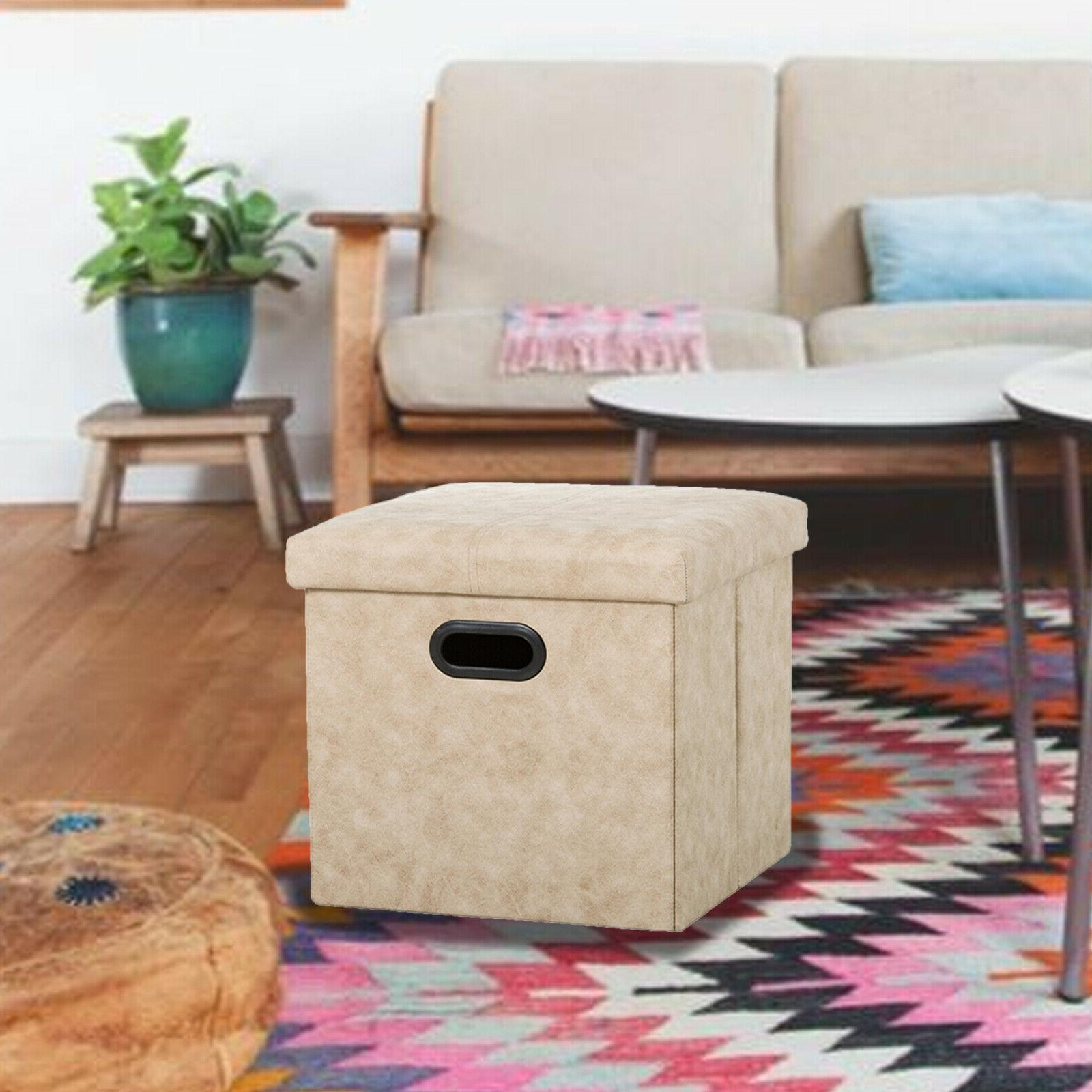 Folding Ottoman Box Lounge Seat Rest Stool Toy