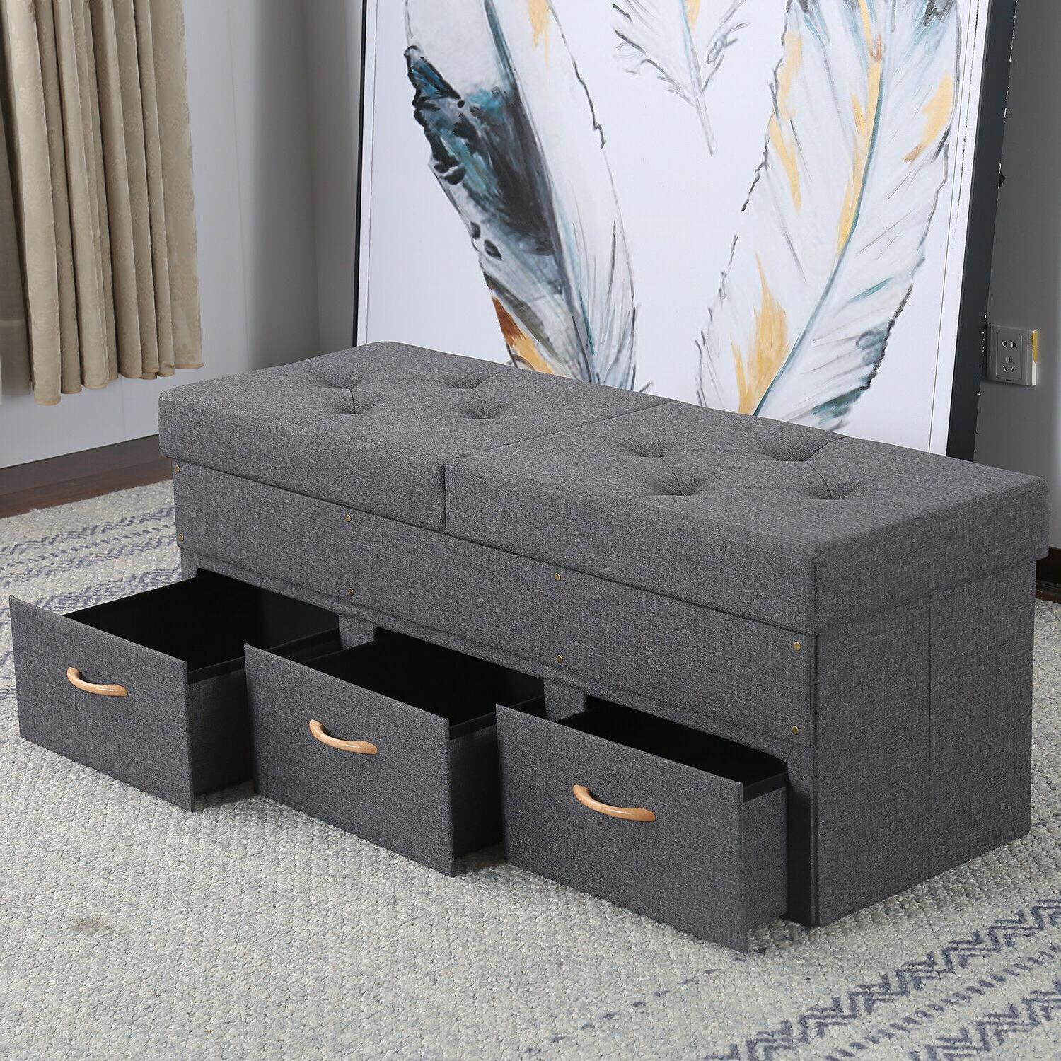 folding storage ottoman bench box lounge seat