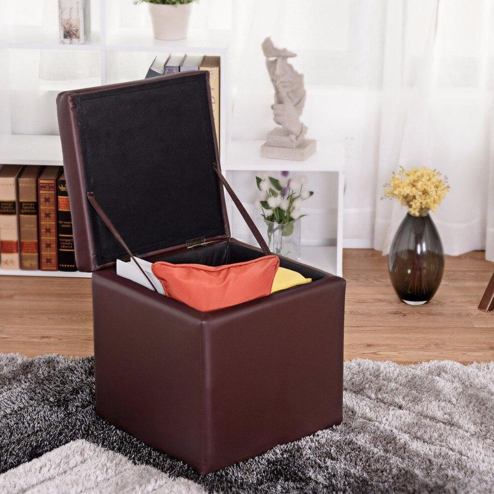 "<font><b>Giantex</b></font> 16"" Ottoman Seat Foot Stool Lounge Cube Top Furniture HW56291BN"