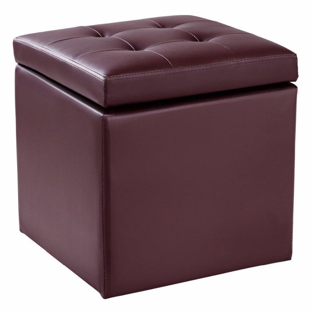 "<font><b>Giantex</b></font> 16"" Ottoman Foot Cube Hinge Furniture HW56291BN"