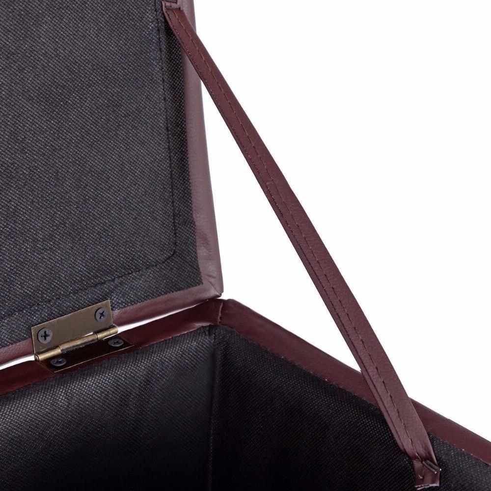 <font><b>Giantex</b></font> Ottoman Brown Foot Chair Cube Hinge Furniture HW56291BN