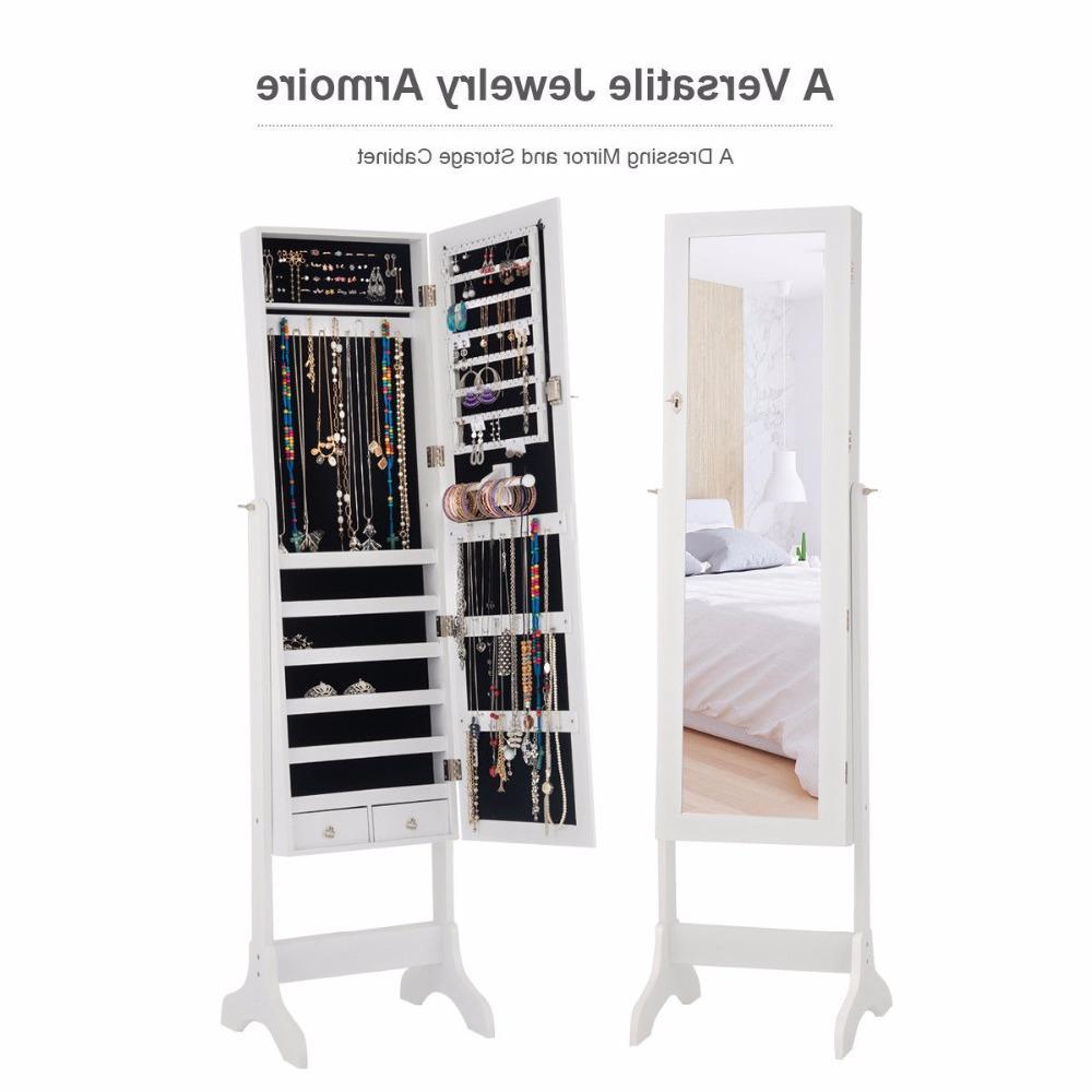 <font><b>Giantex</b></font> Lockable Jewelry Cabinet Storage Box w/ Drawers Home HW58853WH