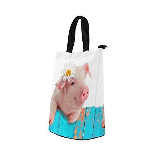 InterestPrint with Flower Bag Tote Shopping Handbag, Cute Pig Piggy Large Bag