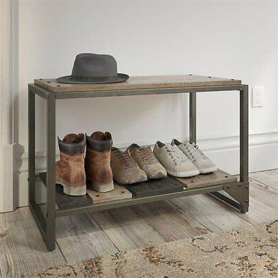 Bush Furniture Storage Bench Rustic Gray
