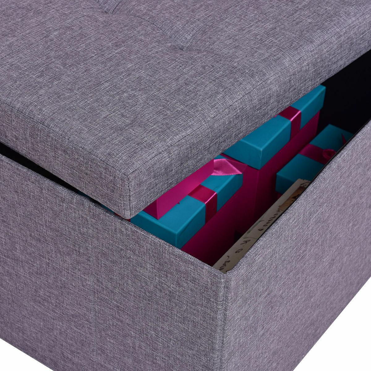 Gray Folding Bench Box Footrest