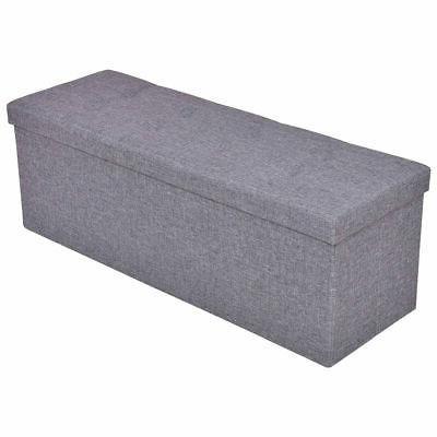 "Gray 43"" Bench Storage Stool Footrest Furniture"