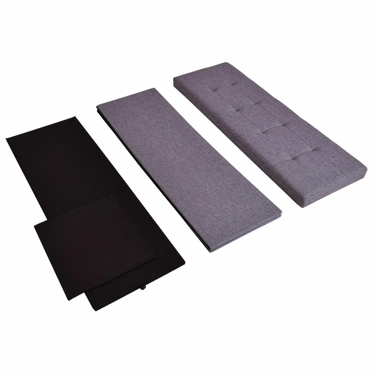 Gray Bench Storage Stool Footrest