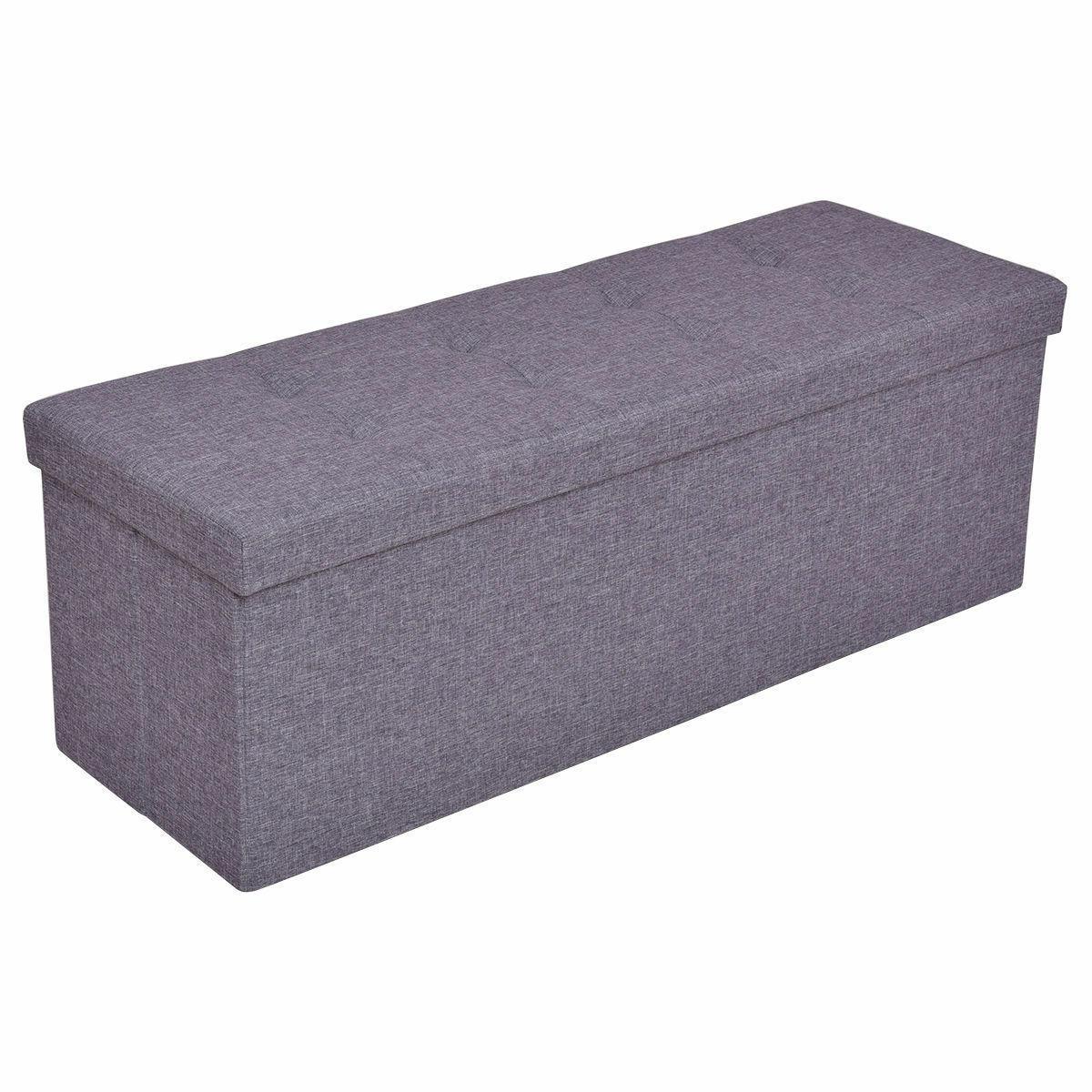 Gray Bench Storage Footrest