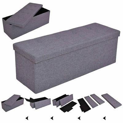 gray 43 folding ottoman bench storage stool