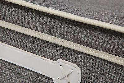 Gray Woven Fabric Lidded Shelf Storage Bin/Closet Organizer