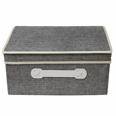 Gray Woven Lidded Storage Organizer Box