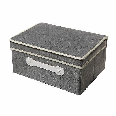 gray woven collapsible fabric lidded shelf storage