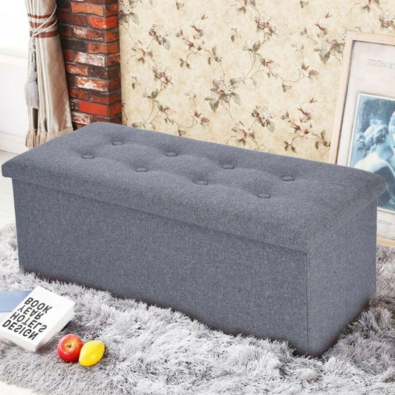 grey linen folding storage ottoman pouffe seat