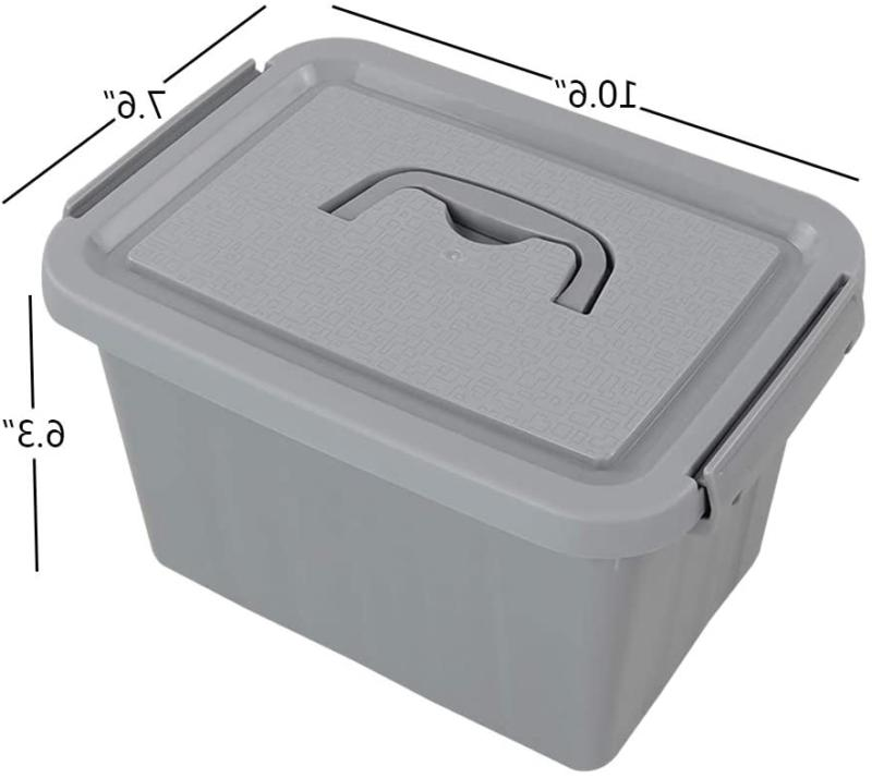 Grey Storage Bin 6 Quart Latching Container with Pack