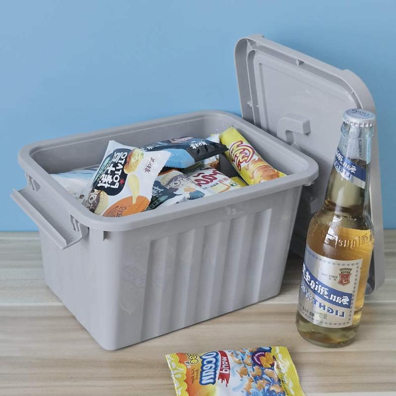 Grey Plastic Storage Bin 6 Container Pack