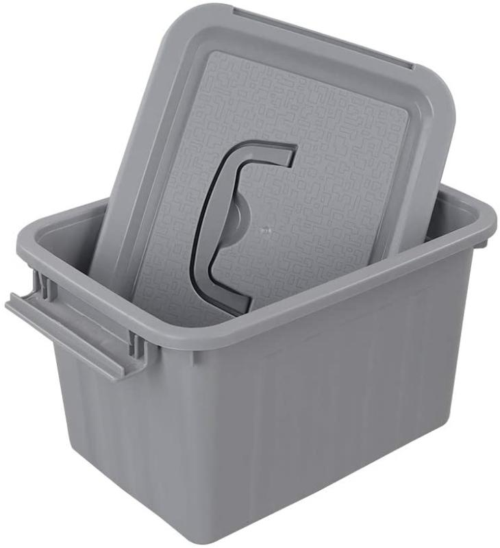 Grey Plastic 6 Quart Latching Box Container with Pack