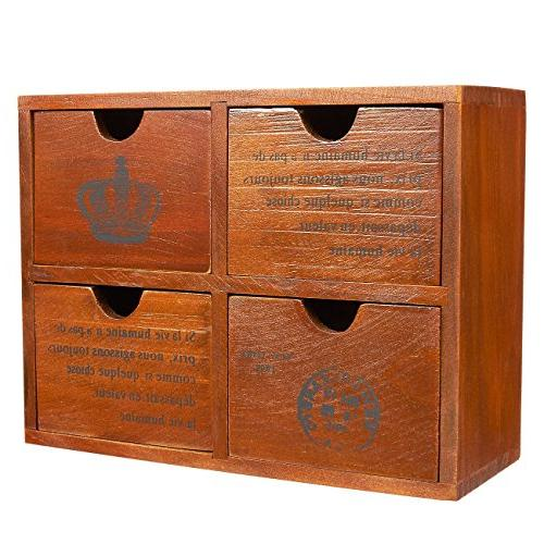 Set of 4 Wooden Organizer Small Boxes for Craft, Jewelry - Chic French and - x 3.8 inches