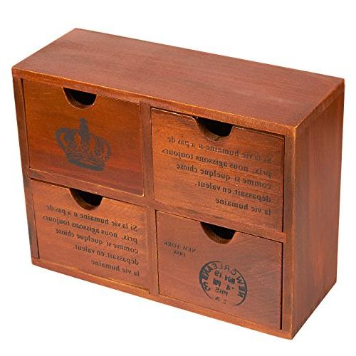 Set of Wooden Organizer Small Boxes for Jewelry French - 3.8 x 7.75 inches