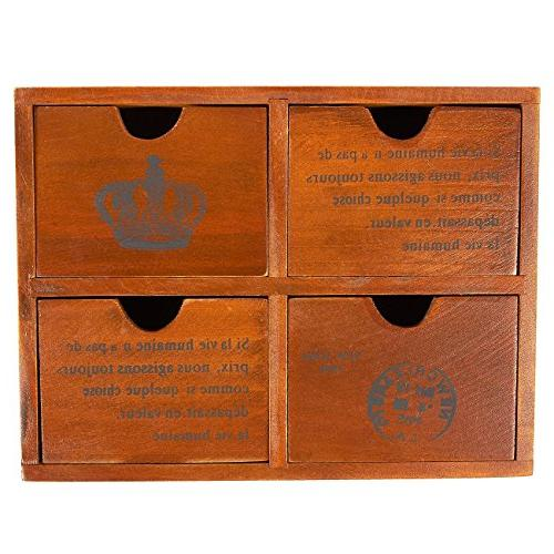 Set of Wooden Small Desktop Decorative Boxes Jewelry Organizer French and Crown Design - Brown, 3.8