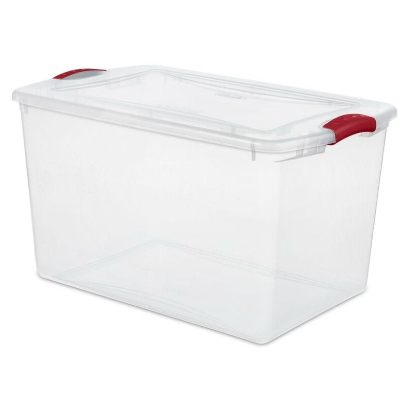 home storage organization box 66 qt latch
