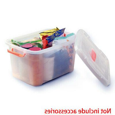 Clear Plastic Storage Box Home Office Organizer With Clip Li