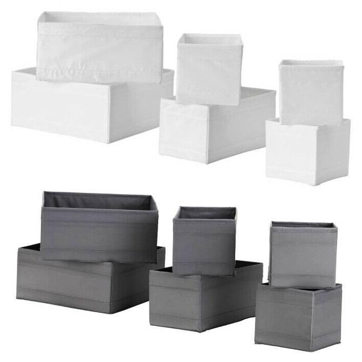 IKEA Skubb Box Organizer set of 6 Storage White / Dark Gray