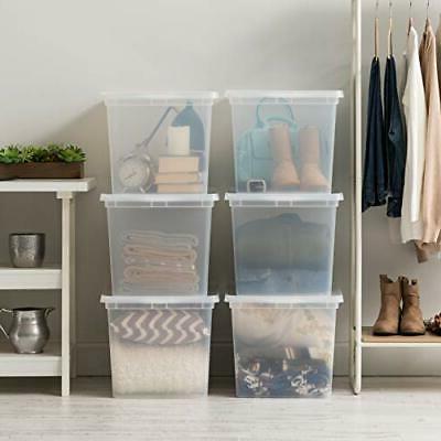IRIS USA, Clear Storage Box, 6 Pack, Quart Clear