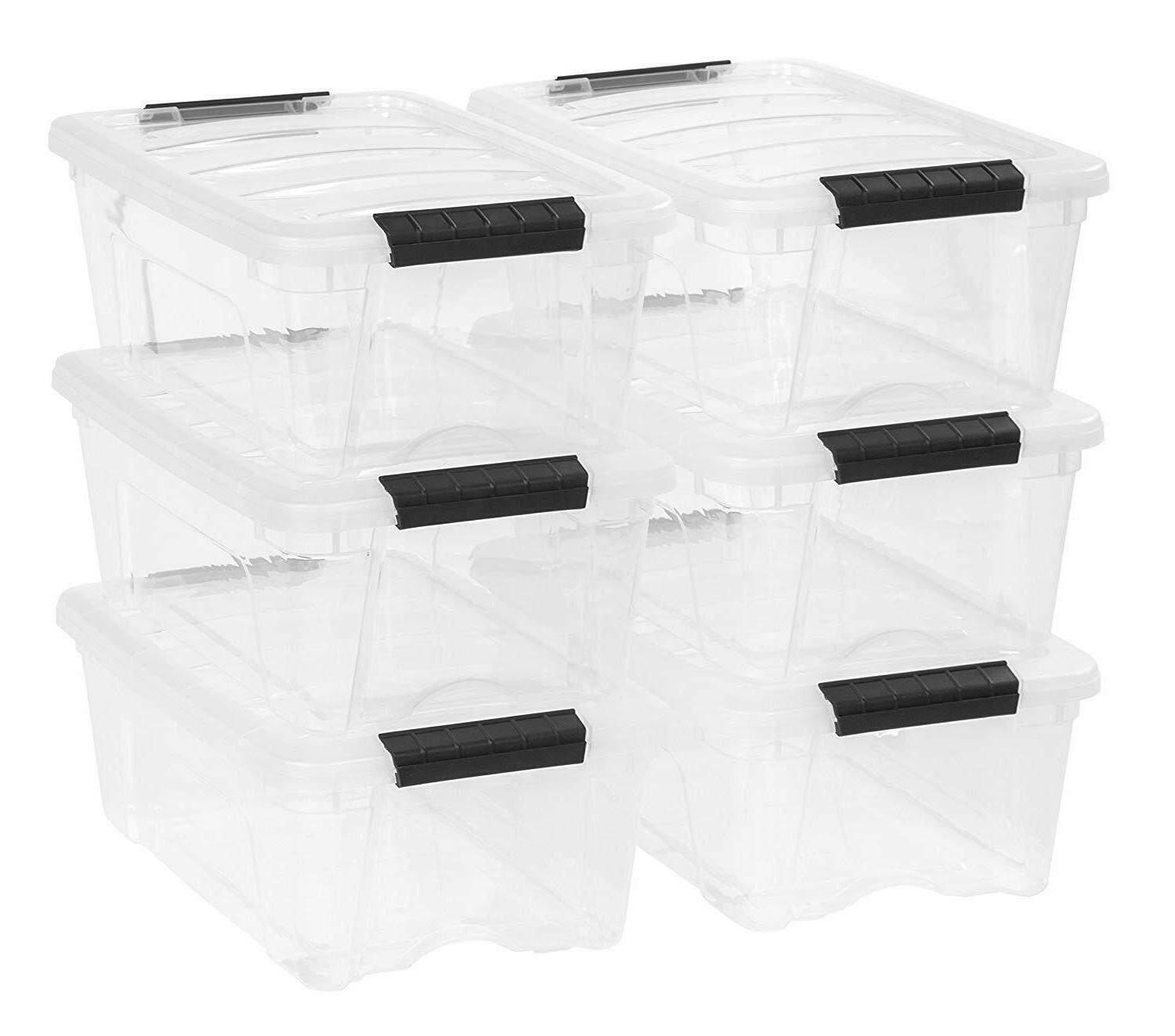 plastic storage tote container clear stackable pull